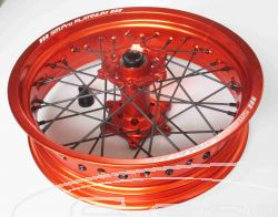 SM PRO SUPERMOTO COMPLETE-WHEEL - KTM (HUSABERG, HUSQVARNA) - 20+25mm Spindle (03-17) - Rear (17 x 5.00) - Orange Hub / Gloss Orange Rim / Black Nipples / Black Spokes